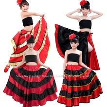 Halloween Kids Girls Spain Bullfight Belly Dance Stage Costumes Kids Red Flamengo Skirts Carnival Performance Satin Party Dress(China)