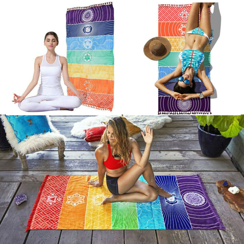 1Pcs Tassels Single Rainbow Chakra Tapestry Towel Mandala Boho Stripes Travel Yoga Mat Tapestry