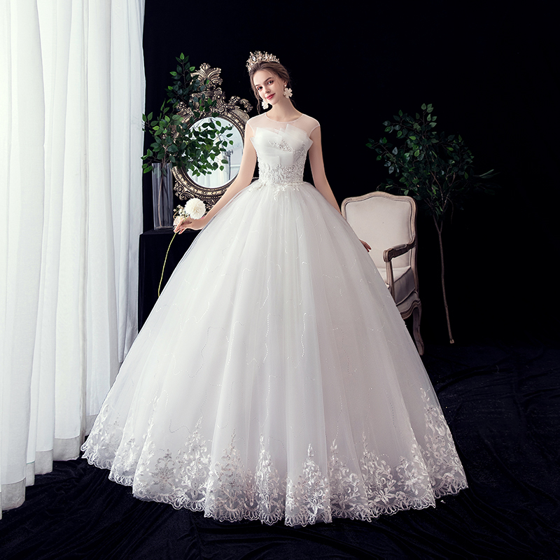 Ball Gown Real Images Lace Edge Tulle 2020 Wedding Dresses 2019 Dresses Bridal Dress Plus Size Shine Skirt Embroidery Beads