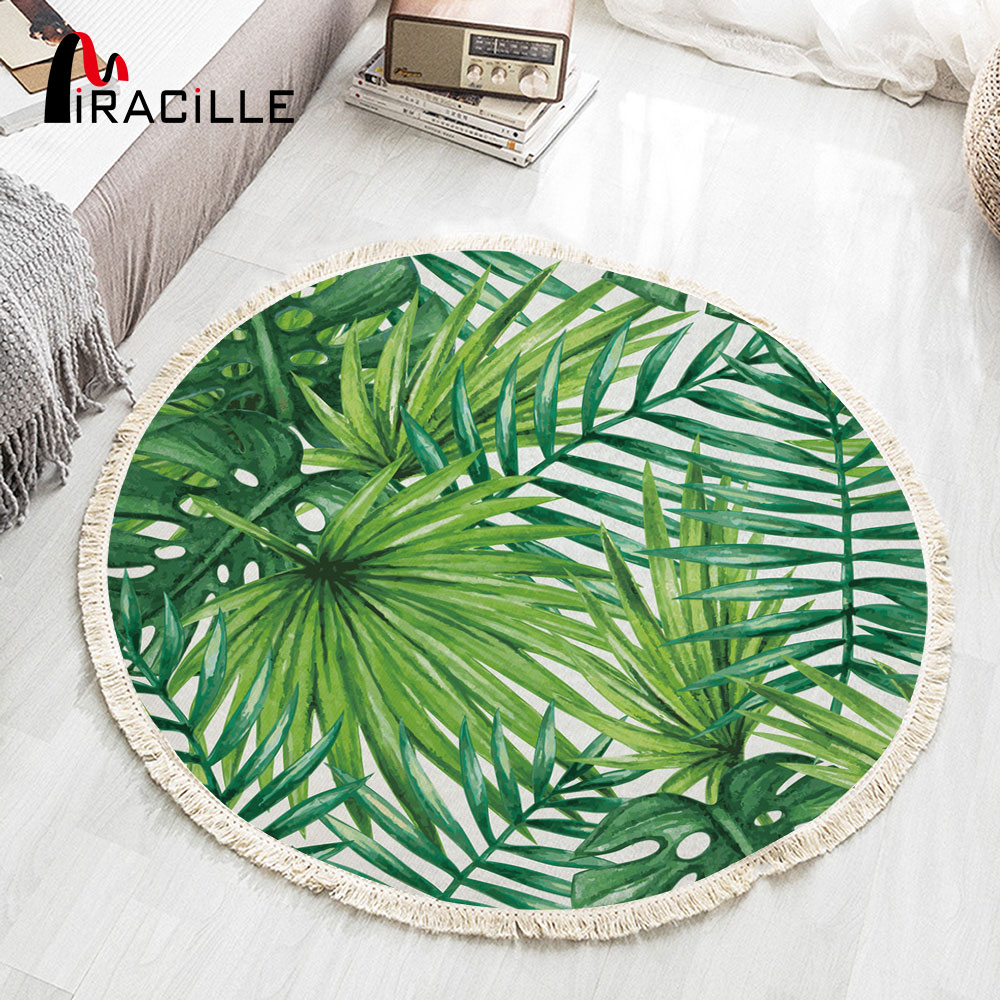 Miracille Green Leaves Round Carpet With Tassel Cotton Woven Home Area Rug Durable Non-slip Play Mat Dropship