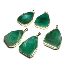 цены New Water Drop Shape Crystal Pendant Necklace Women Men Jewelry Green Natural Stone Pendants for Jewelry Making Optional 2 Chain