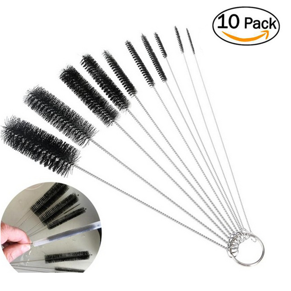 10Pcs/lot Baby Milk Feeding Bottle Drink Water Cup Straw Washing Brush Clean Stainless Steel Handle Spiral Soft Hair Clean Tool