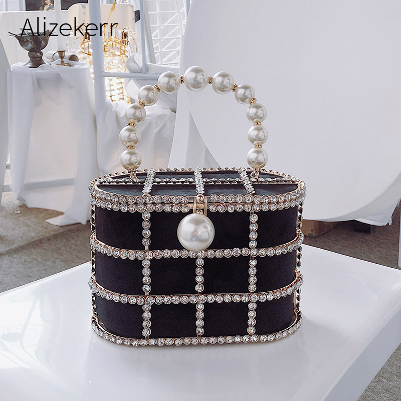 Party Purse Basket Clutch-Bags Cage Beaded Diamonds Wedding Metallic Hollow-Out Evening title=