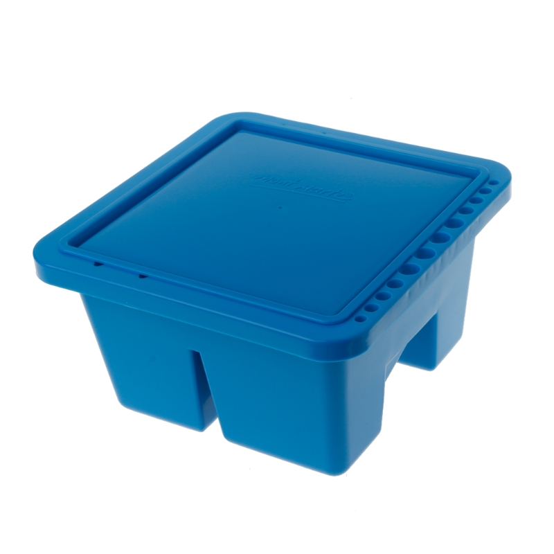 Blue Double Compartment 12 Hole Multi-Function Plastic Brush Washer Box Easy Cleaning Drying For Acrylic & Watercolor Painting