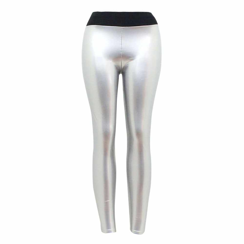Femmes dame Strethcy brillant Sport Fitness Leggings pantalon pantalon pantalons pantalons Sexy pour les femmes noir rouge pantalons Mujer