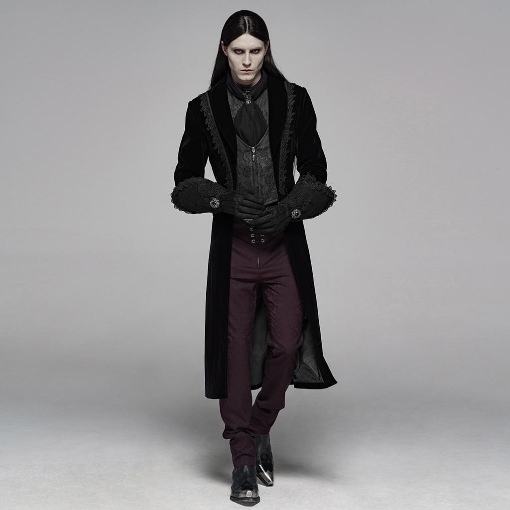 PUNK RAVE guantes de nobleza lujosos para hombre Victoria elegantes de gamuza Floral de encaje de invierno largo Formal de fiesta de noche de cena guantes - 2