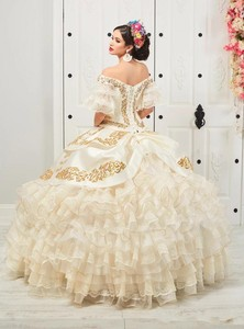 Image 2 - New Charro Quinceanera Dresses 2020 Off Shoulder Puffy Skirt Ruffled Gold Embroidery Beads Princess Sweety 16 Dress