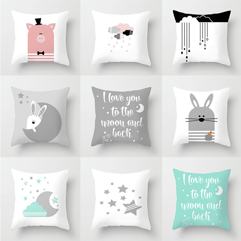 Cartoon Pink Pig Single Side Printed Black And White Pillowcase Letter Gray Rabbit Polyester Home Sofa Covers For Cushions Cover