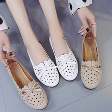Summer Women Genuine Leather Shoes With Low Heels Slip On Casual Flat Shoes Women Loafers Soft Nurse Ballerina Shoes Women Flats genuine leather wedges slip on shoes women flats loafers wedge casual height increasing flat walking shoes plus size 34 40
