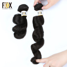 FDX peruvian loose wave hair 1/3/4pcs human hair weave 28 30 inch bundles deal natural black color Long Hair extensions Remy(China)