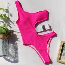 Jedno ramię stroje kąpielowe kobiety Push Up jeden kawałek strój kąpielowy Leopard bandaż bikini maillot de bain Femme stringi kąpielowy Mujer 2