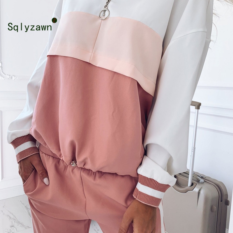 Autumn Women Color Block Patchwork Pink Two Piece Set Hooded Pullover Sweat Shirt + Top Jogger Pants Matching Track Suit Oufits
