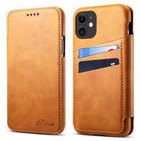 Para iPhone 11 2019 PU Funda de cuero Retro multifunción cubierta delgada tarjeta de negocios Smart Phone bolsa funda para iPhone 11 Pro Max