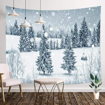 Winter Forest Christmas Winter Snow Forest with Fir Trees and Snowflakes Tapestry