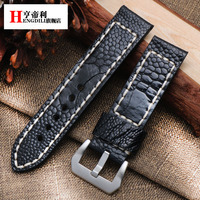 high quality 20mm 22mm 24mm 26mm Genuine leather ostrich skin wristwatch straps for PAM watch with stainless steel buckle