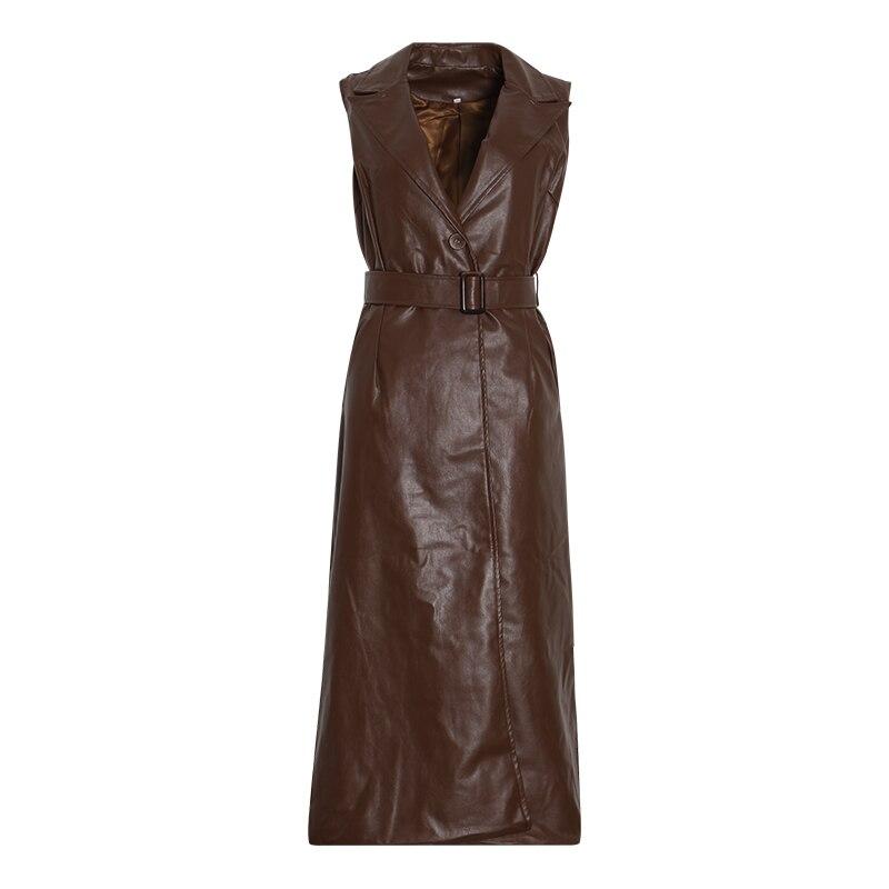 Kadın Giyim'ten Elbiseler'de CHICEVER Bir Çizgi Deri Elbiseler Kadınlar Için Yaka Kolsuz Kapalı Omuz Yüksek Bel Sashes Ile Elbise Kadın Moda Yeni Elbise'da  Grup 3