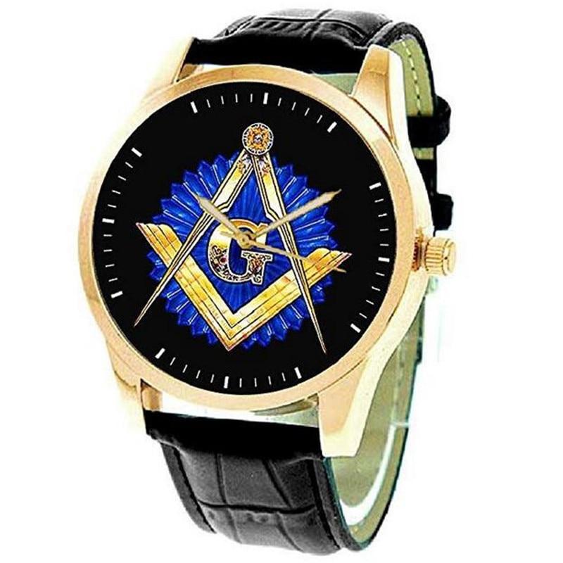 H5c3fd8b6316c4946ac1dc3eb311c7f42Y Masonic Watch Freemasonry Chrome Square Compass Mason Retro Quartz Watch Best Gifts for Freemason B