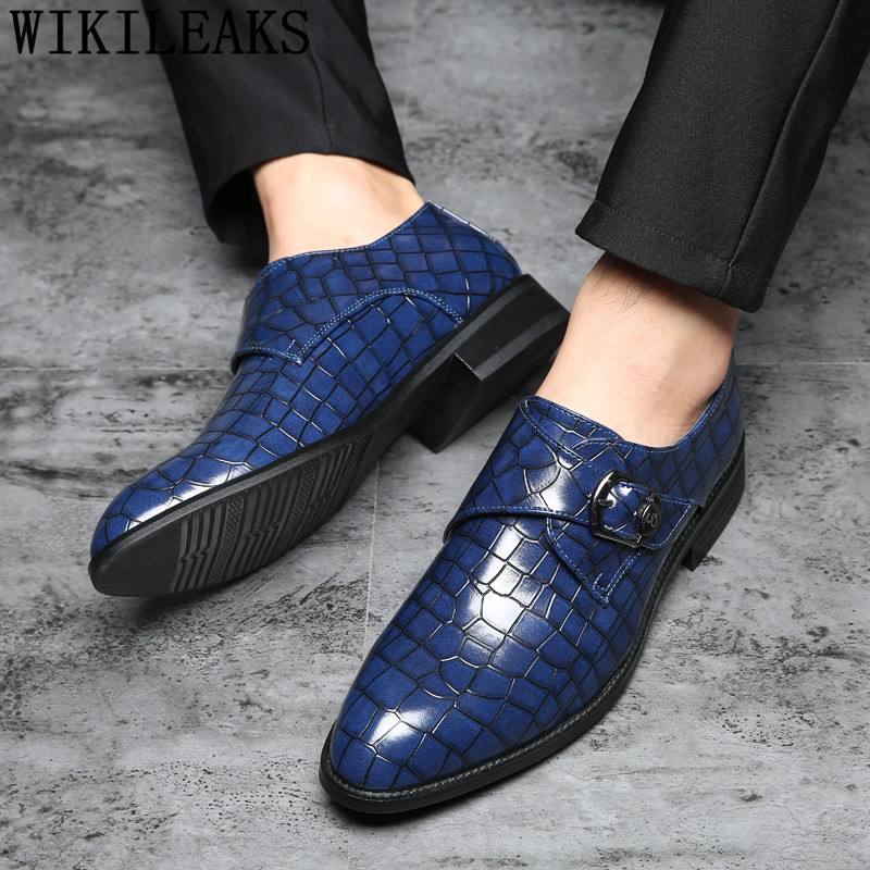 Italian Crocodile Shoes Men Formal Shoes Leather Monk Strap Oxford Shoes For Men Loafer Sapato Social Masculino Zapatilla Hombre