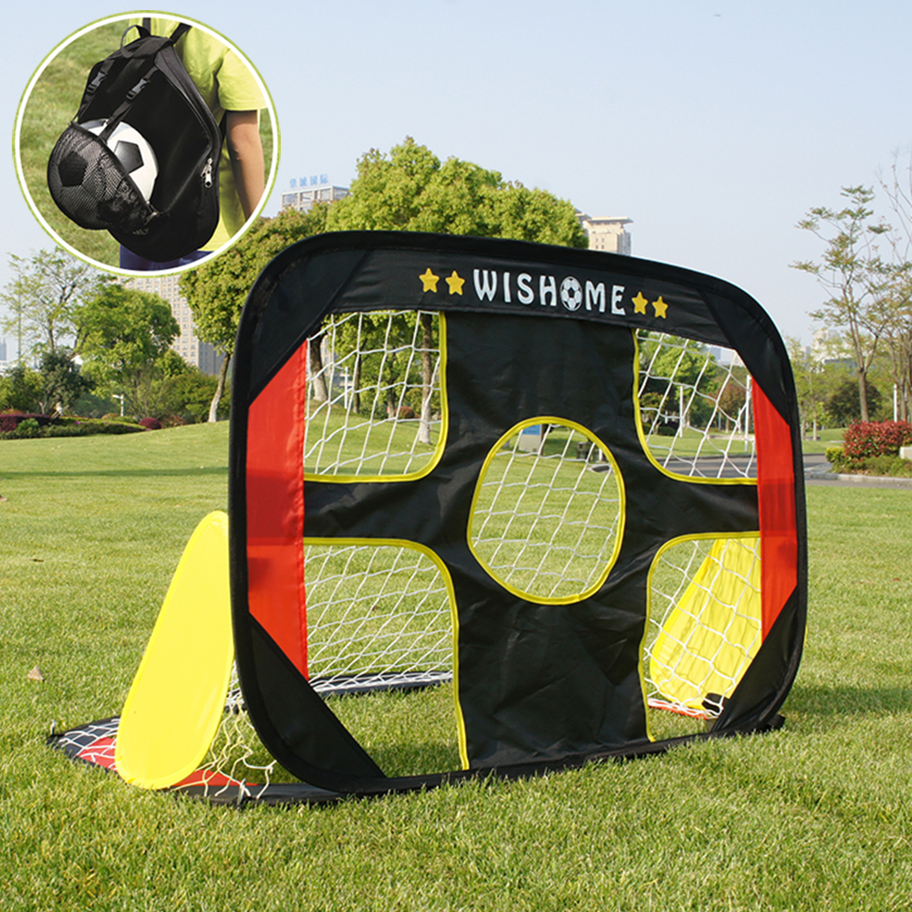 WISHOME 2in1 Kids Pop Up Soccer Goal And Size3 Ball Portable Soccer Goal Net For Backyard Small Football Gate Gift Toys For Kids