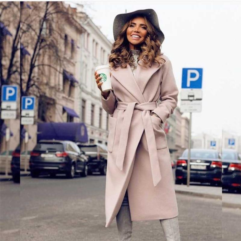 RICORIT Noble Long Women Jacket Coat Turndown 2 Pocket Belted Jacket Elegant Solid Coats Female Outerwear Пиджак Верхняя Одежда