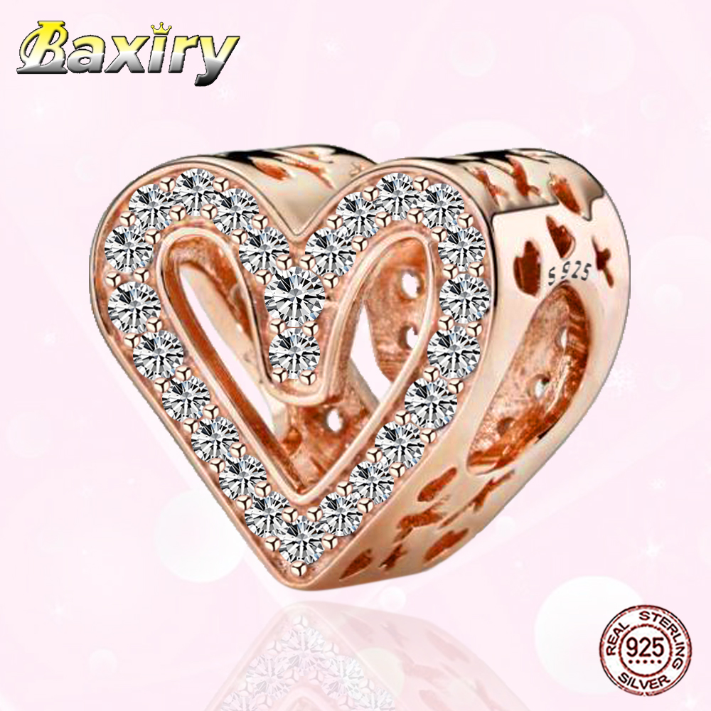 Rhinestones Pendants Heart Shape Charm Family Theme fit 925 Silver Bead Bracelet