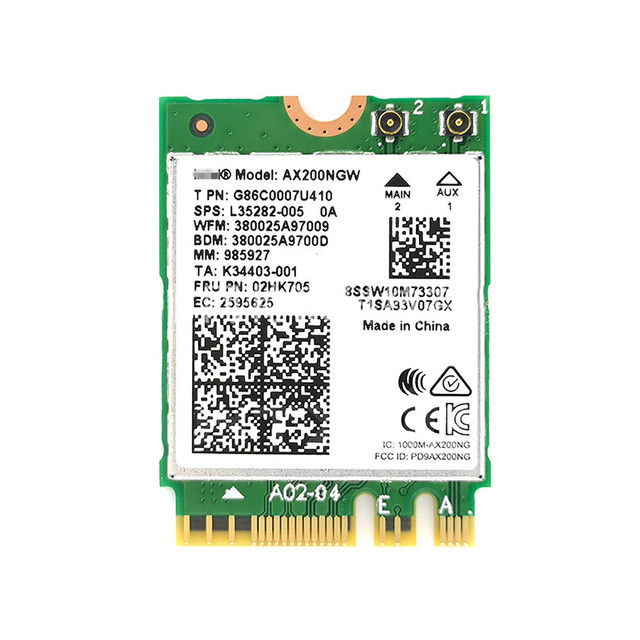 Беспроводная карта WIFI6 NGFF M2 160 МГц 2,4 Гбит/с для Intel 2974 Мбит/с 802.11ax/802.11AC AX200NGW2400M