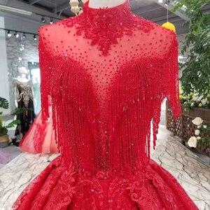 Image 5 - LSS106 אדום ציצית מסיבת חתונה כלה גבוהה צוואר חרוזים שרוולים גב פתוח אונליין שמלה לנשף משלוח חינם חדש הגעה