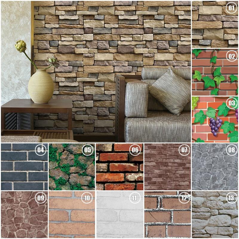 45*100cm Bricks Pattern Wall stickers Home Bedroom Decoration Environmental Protection Waterproof Vinyl Wallpaper 1