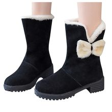 Fashion Women Suede Plush Insole Snow Boots Square Heel Slip-On Shoes Keep warm fur Boot Round Toe Warmer Hiking Snow Booties(China)