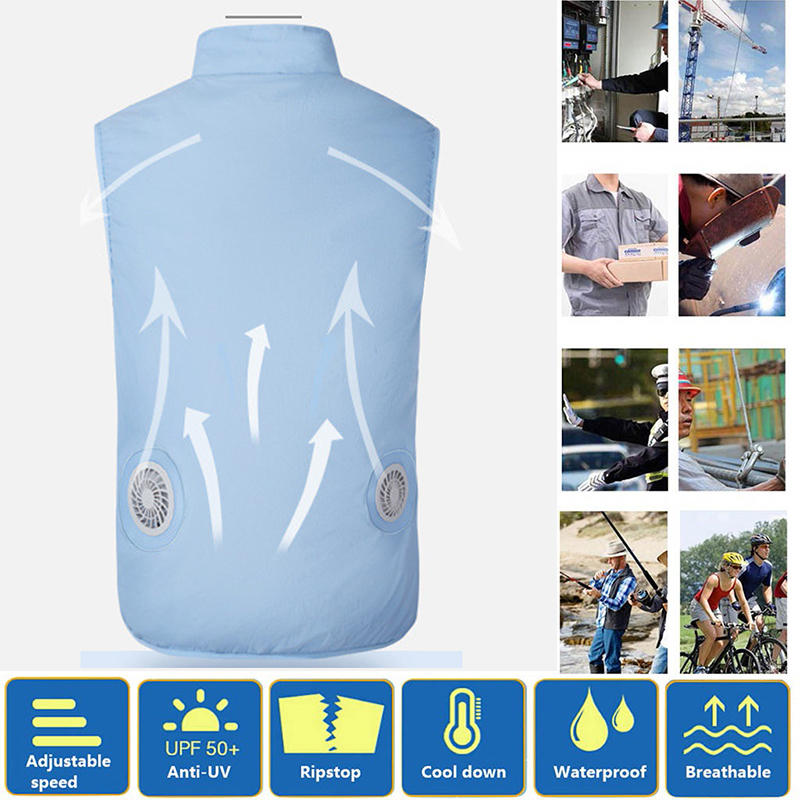 Image 3 - New USB Fan Cooling Hiking Vest Fishing Cycling Vest Air Conditioning Work Outdoors Quick Cooling Vest Summer Cooling Men/womenHiking Vests   -
