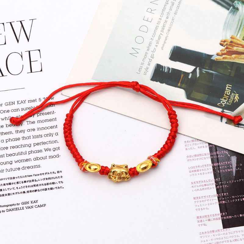 Lucky kabbalah corda vermelha trançado ouro porco charme pulseiras moda jóias