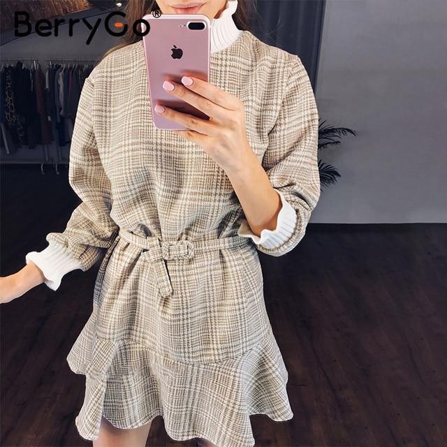 BerryGo Winter plaid mini dresses women Turtle neck tweed short dress female Vintage ruffle sash autumn office ladies vestidos