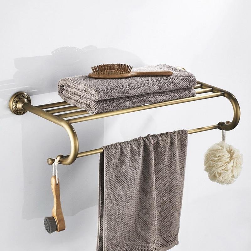 Antique Br Bathroom Towel Shelf