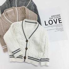 Winter Children V Neck Cotton Cardigan Sweater Children Solid Color Sweaters Knitwear for Boy Girls Stripe Single-Breasted(China)