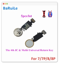 Baruile 5pcs 4th jc meibi 유니버설 홈 버튼 플렉스 아이폰 7 8 플러스 반환 버튼 키 최종 솔루션 다시 기능