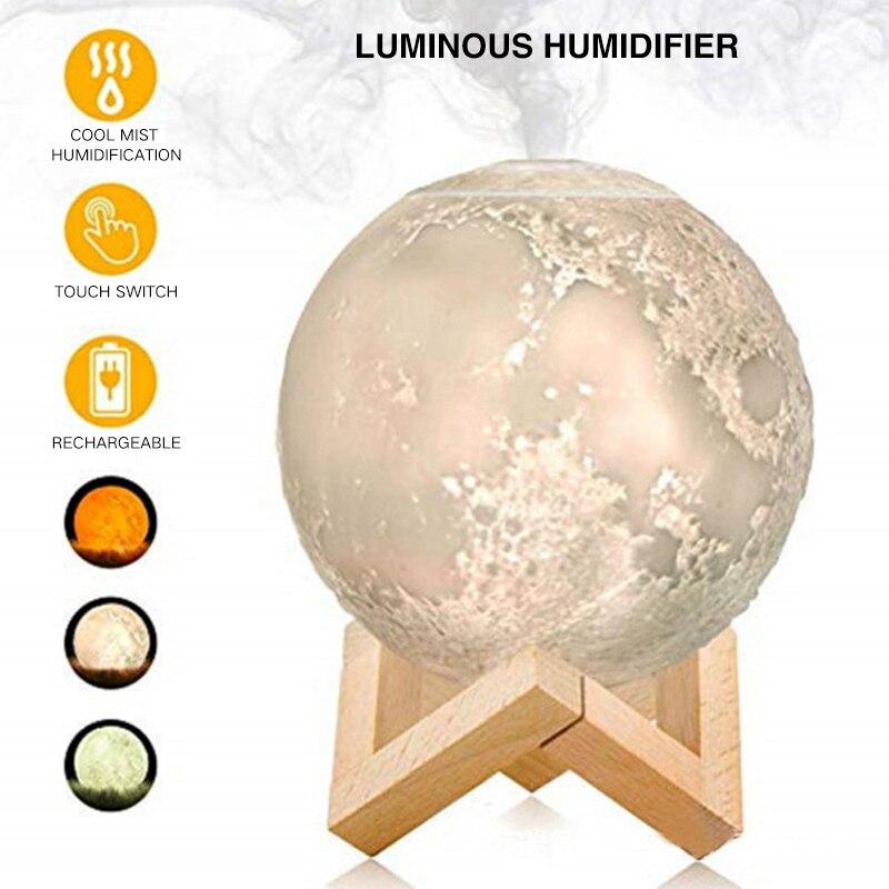 Difusor de Aroma ultrasónico aceite esencial 880ml humidificador de aire USB Lámpara de luna llena luz nocturna purificador de niebla fresco de noche para I Humidificadores    - AliExpress