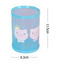 Cute cartoon pattern DIY round pen holder Student stationery  Pen holder Office school Desktop storage decoration box