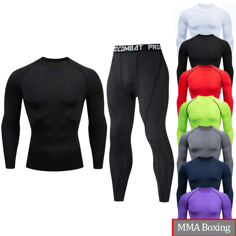 Men's MMA Boxing Suits Long Sleeve T-shirt +Pants Compression Shirts Fitness Quick Dry MMA Clothing Boxeo Rashguard Sport Suit