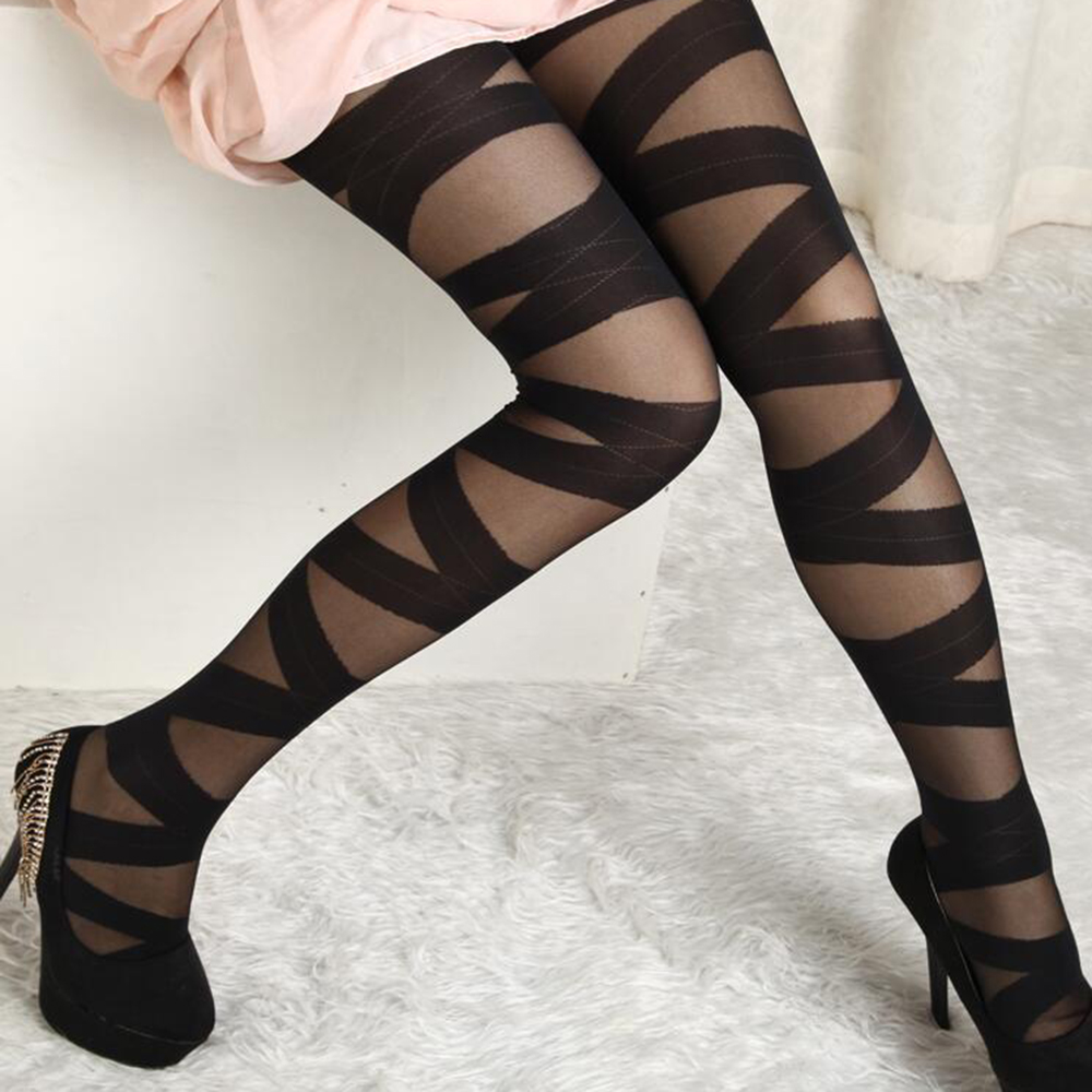 Tights Women Stay-Up Stripes Thigh-highs Stockings Pantyhose