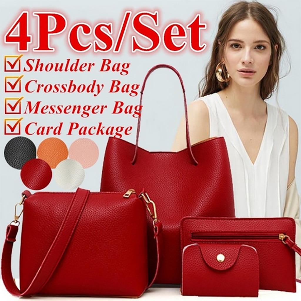 4Pcs Women Pattern Leather Handbag+Crossbody Bag+Messenger Bag+Card Package#p30