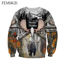 FEMSKIS Animal Camo Moose Hunting Hunter Causal Pullover New Fashion 3D Print Sweatshirt Men Women Clothes Funny Long-sleeved breathable jungle bionic camo clothes wild hunting suits for hunter oem factory