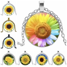 HOT! 2019 Statement Necklace Fashion Colorful Sunflower Glass Cabochon Pendant Necklace Charm Girl Jewelry