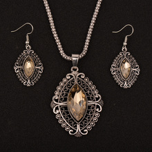 Religious Women Jewelry Crystal Sets Statement Necklace and Earrings Set Antique Silver Color