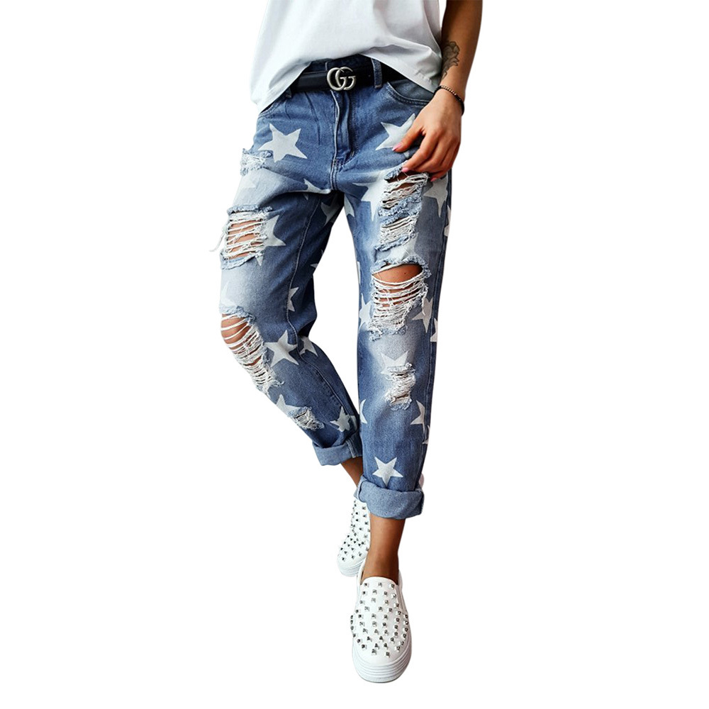 Star Printed Jeans Women 9 Points Spring and Autumn New High Waist Slimming Joker Hole Tight Ankle Pants