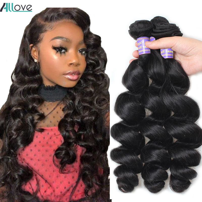 Allove Loose Wave Bundles Indian Hair Bundles 100% Human Hair Extensions Non-Remy Hair Loose Wave Human Hair 3 Bundles Can Buy