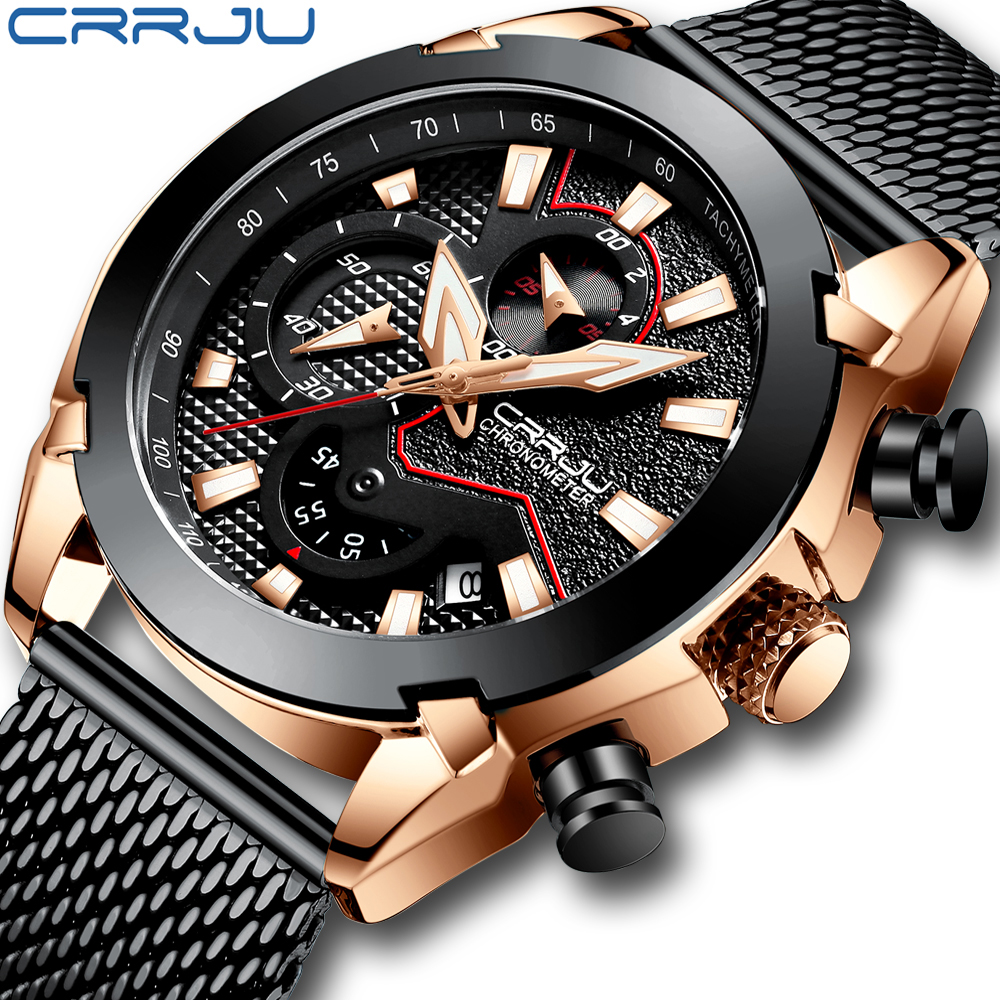 Men Watch Top Luxury CRRJU Classic Business Chronograph Men Wristwatch Fashion Military Sport Calendar Clock Relogio Masculino