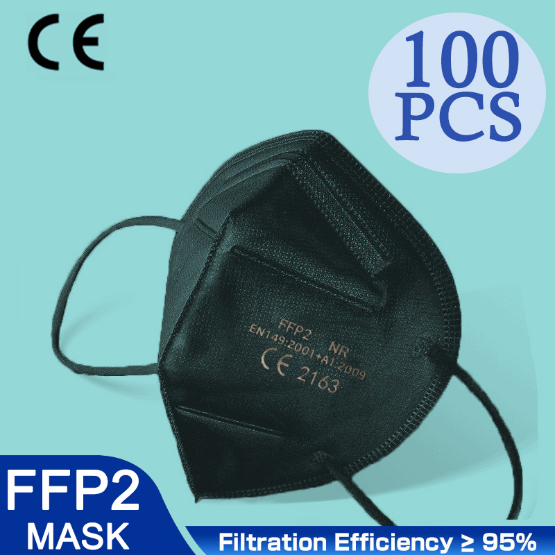High Quality 5 Layers FFP2 Black Dust Mask Safety Respirator Protective KN95 Mask Face KN95Masks Filter Dustproof Reusable FPP2