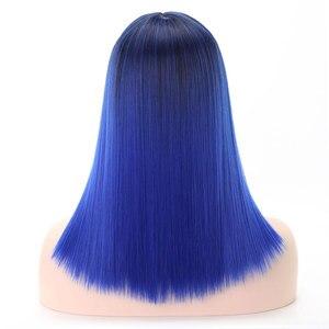 Image 5 - COSYCODE peluca sintética con flequillo para mujer, 16 pulgadas, 40 cm, recta, negra a azul, 2 tonos, sin encaje, disfraz de Cosplay, largo al hombro