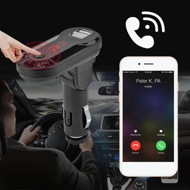 I9 Bluetooth Car Kit FM Transmitter TF Card U Disk Handsfree Wireless Car Kit MP3 Music Player USB Charger Support  New 2