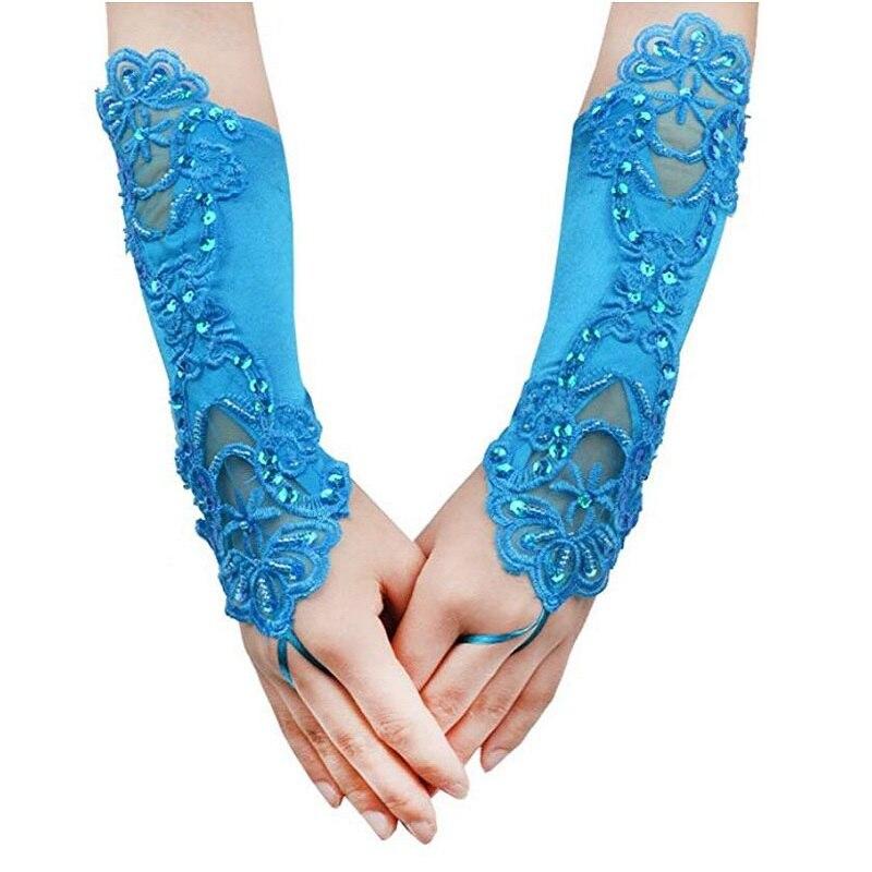 Elegant Lace Bridal Bride Long Pink Gloves Strethy Adult Size Evening Party Costume Prom Crystal Sequins Hook Finger Gloves S033